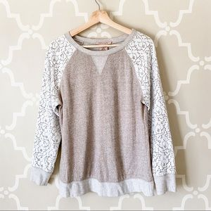 Philosophy Long Sleeve Cream Lace Pullover